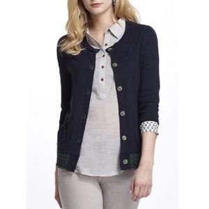 Anthropologie Sweaters - Anthro Fiets Voor 2 Embroidered Hem Cardigan Blue